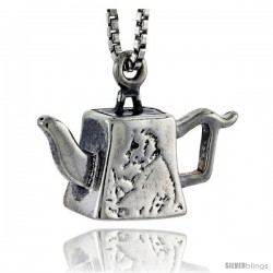 Sterling Silver Trapezoid-shaped Tea Pot Pendant, 1/2 in tall