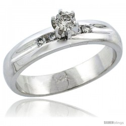 14k White Gold Diamond Engagement Ring w/ 0.25 Carat Brilliant Cut Diamonds, 3/16 in. (4.5mm) wide