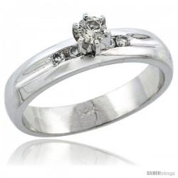 14k White Gold Diamond Engagement Ring w/ 0.25 Carat Brilliant Cut Diamonds, 3/16 in. (4.5mm) wide