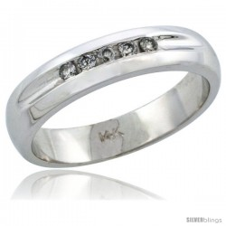 14k White Gold Ladies' Diamond Ring Band w/ 0.10 Carat Brilliant Cut Diamonds, 3/16 in. (4.5mm) wide