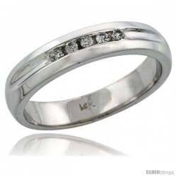 14k White Gold Men's Diamond Ring Band w/ 0.10 Carat Brilliant Cut Diamonds, 3/16 in. (4.5mm) wide