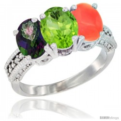 14K White Gold Natural Mystic Topaz, Peridot & Coral Ring 3-Stone 7x5 mm Oval Diamond Accent