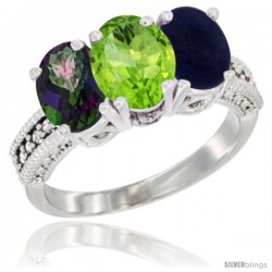 14K White Gold Natural Mystic Topaz, Peridot & Lapis Ring 3-Stone 7x5 mm Oval Diamond Accent