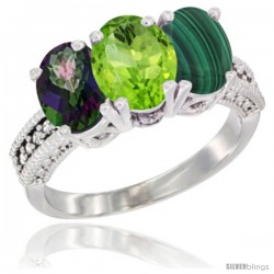 14K White Gold Natural Mystic Topaz, Peridot & Malachite Ring 3-Stone 7x5 mm Oval Diamond Accent