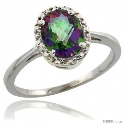 14k White Gold Diamond Halo Mystic Topaz Ring 1.2 ct Oval Stone 8x6 mm, 1/2 in wide