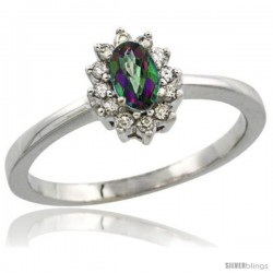 14k White Gold Diamond Halo Mystic Topaz Ring 0.25 ct Oval Stone 5x3 mm, 5/16 in wide