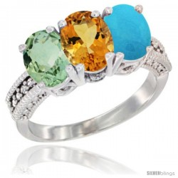 14K White Gold Natural Green Amethyst, Citrine & Turquoise Ring 3-Stone 7x5 mm Oval Diamond Accent