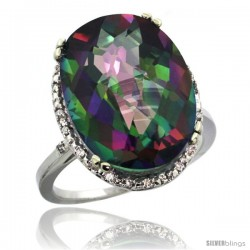 14k White Gold Diamond Halo Large Mystic Topaz Ring 10.3 ct Oval Stone 18x13 mm, 3/4 in wide