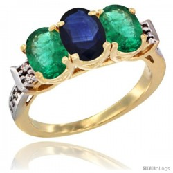 10K Yellow Gold Natural Blue Sapphire & Emerald Sides Ring 3-Stone Oval 7x5 mm Diamond Accent