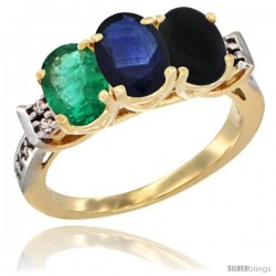 10K Yellow Gold Natural Emerald, Blue Sapphire & Black Onyx Ring 3-Stone Oval 7x5 mm Diamond Accent