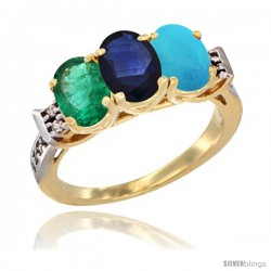 10K Yellow Gold Natural Emerald, Blue Sapphire & Turquoise Ring 3-Stone Oval 7x5 mm Diamond Accent