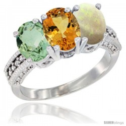 14K White Gold Natural Green Amethyst, Citrine & Opal Ring 3-Stone 7x5 mm Oval Diamond Accent