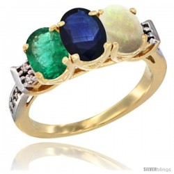 10K Yellow Gold Natural Emerald, Blue Sapphire & Opal Ring 3-Stone Oval 7x5 mm Diamond Accent