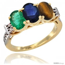 10K Yellow Gold Natural Emerald, Blue Sapphire & Tiger Eye Ring 3-Stone Oval 7x5 mm Diamond Accent