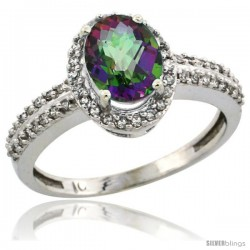 14k White Gold Diamond Halo Mystic Topaz Ring 1.2 ct Oval Stone 8x6 mm, 3/8 in wide