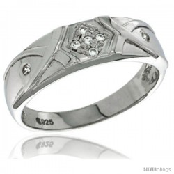 Sterling Silver Cubic Zirconia Mens Wedding Band Ring 1/4 in wide -Style Agcz617mb