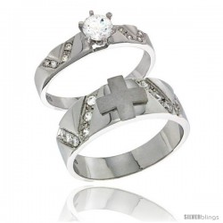 Sterling Silver Cubic Zirconia Engagement Rings Set for Him & Her Round, Brilliant Cut 1/4 in wide -Style Agcz618em