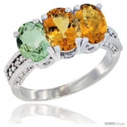 14K White Gold Natural Green Amethyst, Citrine & Whisky Quartz Ring 3-Stone 7x5 mm Oval Diamond Accent