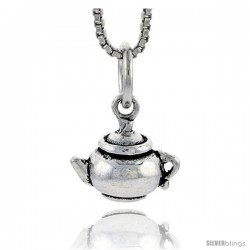 Sterling Silver Tea Pot Pendant, 3/8 in tall