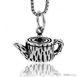 Sterling Silver Tea Pot Pendant, 3/8 in tall -Style Pa1721