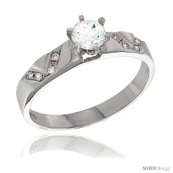 Sterling Silver Cubic Zirconia Solitaire Engagement Ring 0.85 ct size Brilliant Cut 1/8 in wide -Style Agcz618er