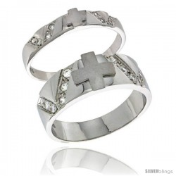Sterling Silver Cubic Zirconia 2-Piece Wedding Ring Set for Him 6mm 1/4 in wide & Her 3mm 1/8 in wide -Style Agcz618w2
