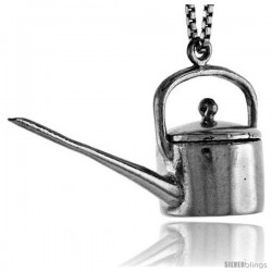 Sterling Silver Watering Can Pendant, 3/4 in tall
