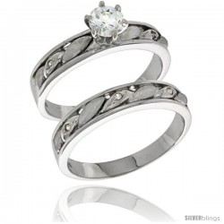 Sterling Silver Cubic Zirconia Ladies' Engagement Ring Set 2-Piece, 5/32 in wide -Style Agcz619e2