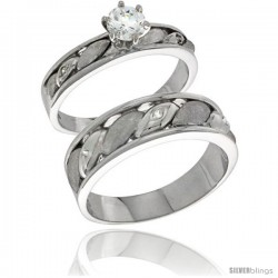 Sterling Silver Cubic Zirconia Engagement Rings Set for Him & Her Round, Brilliant Cut 1/4 in wide -Style Agcz619em