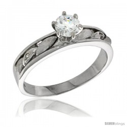 Sterling Silver Cubic Zirconia Solitaire Engagement Ring 1 ct size Brilliant Cut 5/32 in wide -Style Agcz619er