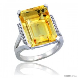Sterling Silver Diamond Natural Citrine Ring 12 ct Natural Emerald Cut 16x12 stone 3/4 in wide