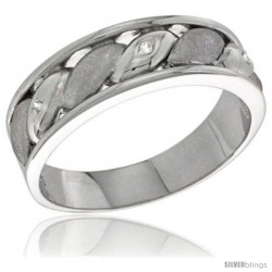 Sterling Silver Cubic Zirconia Mens Wedding Band Ring 1/4 in wide -Style Agcz619mb