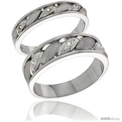 Sterling Silver Cubic Zirconia 2-Piece Wedding Ring Set for Him 6mm 1/4 in wide & Her 4mm 5/32 in wide -Style Agcz619w2