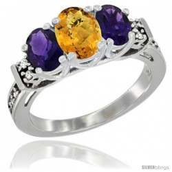 14K White Gold Natural Whisky Quartz & Amethyst Ring 3-Stone Oval with Diamond Accent