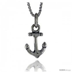 Sterling Silver Anchor Pendant, 1/2 in tall