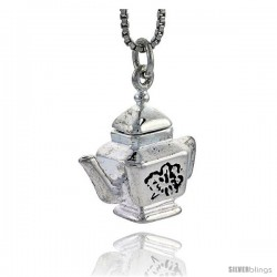 Sterling Silver Trapezoid-shaped Tea Pot Pendant, 1/2 in tall -Style Pa1727