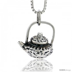 Sterling Silver Tea Pot Pendant, 5/8 in tall -Style Pa1729