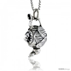 Sterling Silver Tea Pot Pendant, 3/4 in tall -Style Pa1730