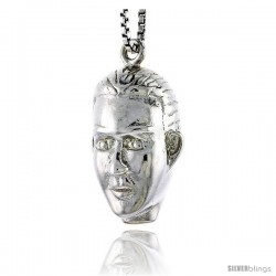 Sterling Silver Man's Head Pendant, 3/4 in tall