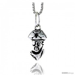 Sterling Silver Pirate Head Pendant, 1/2 in tall