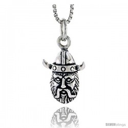 Sterling Silver Viking Man Head Pendant, 1/2 tall