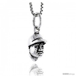 Sterling Silver Baseball Player Head Pendant, 1/2 in tall
