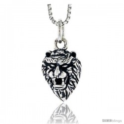 Sterling Silver Lion Head Pendant, 1/2 in tall