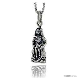 Sterling Silver Madonna & Child Pendant, 3/4 in tall