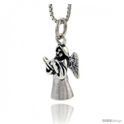 Sterling Silver Angel Pendant, 3/4 in tall