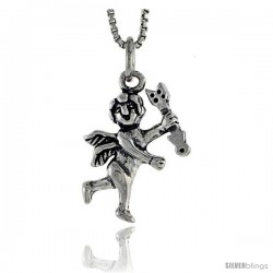 Sterling Silver Cupid Pendant, 3/4 in tall