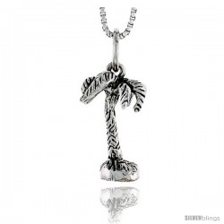 Sterling Silver Coconut Tree Pendant, 3/4 in tall