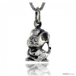 Sterling Silver Mouse Pendant, 3/4 in tall