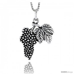 Sterling Silver Grapes Pendant, 7/8 in tall