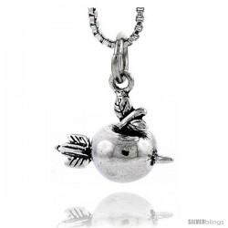 Sterling Silver Apple Hit by an Arrow Pendant, 1/2 in tall